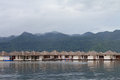 Raft houses in lake thailand Stock Photography