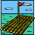 Raft wooden ship vector illustration Royalty Free Stock Photo
