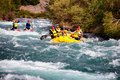Rafting almaty region kazakstan june athletes training on rafts and children ride on the river chilik Stock Photography