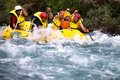 Rafting almaty region kazakstan june athletes training on rafts and children ride on the river chilik Stock Image
