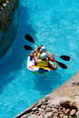 Rafting in an amusement aqua park Royalty Free Stock Photo