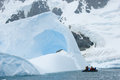 Rafting by iceberg raft near and mountain glacier in antarctica Stock Images