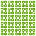 100 rafting icons hexagon green