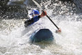 Rafting kayaking extreme sport water fun splashing the white as and Stock Image