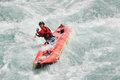 Rafting kayaking extreme sport water fun splashing the white as and Stock Images