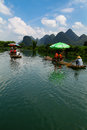 Rafting the li river yangshuo by karst peaks of china Royalty Free Stock Photos