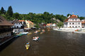 Rafting on Vltava river in Cesky Krumlov Stock Photo