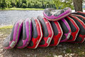 Rafts on a shore delaware river Royalty Free Stock Image