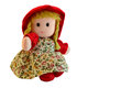 Rag doll with red coat like little red riding hood Royalty Free Stock Images