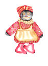 Rag doll watercolor african american with a red and tan dress Stock Images