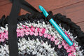 Rag Rug with Crochet Hook Royalty Free Stock Photo