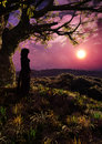 Ragazza nella fantasia forest romantic sunset vertical Immagine Stock