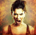 Rage explosion. Scream of angry woman Royalty Free Stock Photo