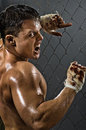 Rage fighter vertical photo muscular young guy street aggression awesome yell hard light Stock Images