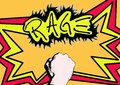 Rage fire comic of a punch with text Royalty Free Stock Photos