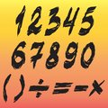 Ragged style arabic numerals and other elements on gradient background