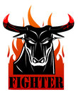 Raging Black Bull Fighter Over the Fire