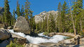Raging Mountain Creek in the Sierra Nevada Stock Photos