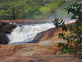 Raging torrent at murchison falls detail of the in uganda africa Stock Photos