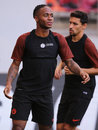 Raheem sterling shaquille player of manchester city pictured during the official training before the uefa champions league match Stock Photography