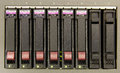 Raid an array of six hard drives for storage close up Stock Photo