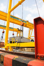 The rail crane atmosphere in construction and installation of Stock Photos