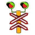 Rail crossing signal icon, icon cartoon