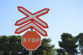 A Rail Crossing Stop Sign On Spanish Railway Lines Royalty Free Stock Photo