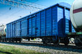 Rail freight wagon metallic way Stock Images