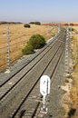Rail road across spanish country side vertical Stock Photo