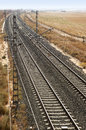 Rail road across spanish country side vertical Stock Image