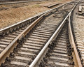 Rail road goes to different ways (focus in the bot Stock Photography