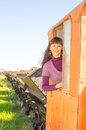 On the rail road pretty girl riding vintage in train cabin Stock Photography