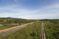 Rail road way in yala thailand and landscape Royalty Free Stock Photos
