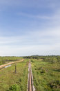 Rail road way in yala thailand and landscape Royalty Free Stock Image