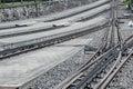 Rail track train platform and Royalty Free Stock Photos