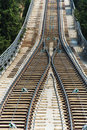 Rail tracks in bright summer day Royalty Free Stock Photos