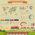 Rail transportation infographic or infochart template or layout using linear and bar, circle and pie charts