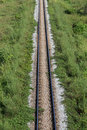 Rail way road with green grass beside Royalty Free Stock Image