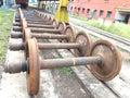 Rail wheel storage in barddhaman loco shed.Indian Railways. Royalty Free Stock Photo