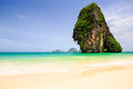 Railay beach beaty limestone rock at in krabi thailand Royalty Free Stock Image