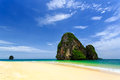 Railay beach beaty limestone rock at in krabi thailand Stock Images