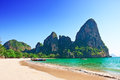 Railay beach in krabi thailand asia Stock Photos