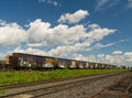 Railcar yard and tracks Stock Photos