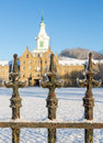 Railings in snow outside trans allegheny lunatic asylum close up of cast iron weston west virginia usa Stock Photography