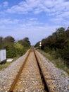 Raillroad binnen aan oneindigheid Stock Afbeelding