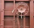 Railroad boxcar hand brake adjustment wheel cargo transporter equipment iron on Stock Image