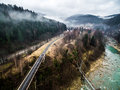 Railroad bridge in Carpathian mountains Royalty Free Stock Photo