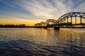 Railroad Bridge over river Daugava in Riga Royalty Free Stock Photo
