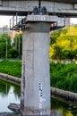 Railroad bridge pier in harbin city china Royalty Free Stock Image